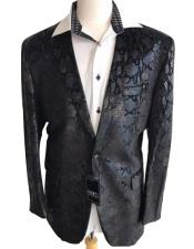 Black sequin One Button jacket Snakeskin print fashion blazer