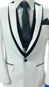Prom / Wedding Black Trimmed  Tuxedo Vested 3 Piece Suits