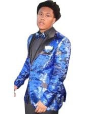 Mens Royal Blue Glitter Sparkly Sequin Shiny Tuxedo Blazer