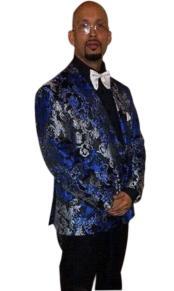 Tuxedo Light ~ Royal Blue ~ Gray ~ Black Paisley Fashion Floral Blazer