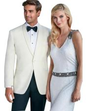 One Button Tuxedo Shawl Lapel Ivory wedding Suit