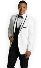One Button Tuxedo Trimmed Shawl Lapel white Suit