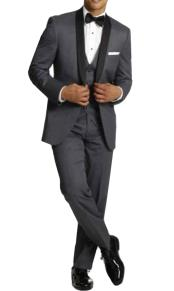 One Button Tuxedo Shawl Black Lapel Gray Vested Suit