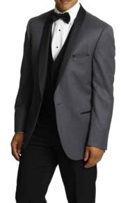 One Button Tuxedo Shawl Lapel Dark Gray vested Suit