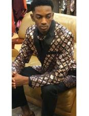 Mens Shiny Sequin Gold Plaid Pattern & Black Blazer Tuxedo Dinner Jacket Suit
