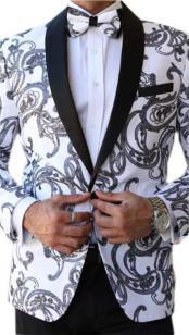 Mens Paisley Designed Black Shawl Lapel White tuxedo dinner jacket
