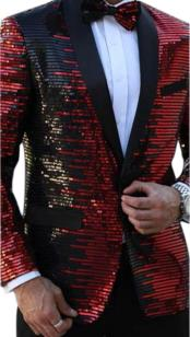Striped Designed Black Shawl Lapel Red~Black tuxedo dinner jacket