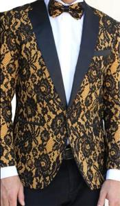 Floral Designed Black Notch Lapel Black Gold Yellow Tuxedo Dinner Jacket