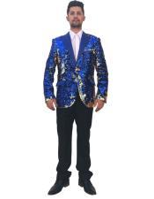 Men's Single Breasted Royal Blue 2 Button Peak Lapel Blazer ~ Sport Coat