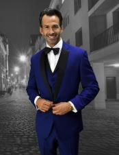 Mens modern fit Style Sapphire Vested tuxedo Suit