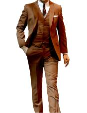 2 Button Single Breasted Notch Lapel Flap Pockets Camel Suit