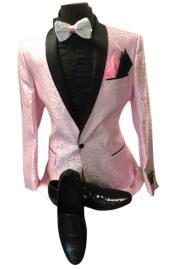 Nardoni Designer Mens Pink Floral ~ Paisley Sport Coat Blazer Dinner Jacket Tuxedo With Black lapel Shawl