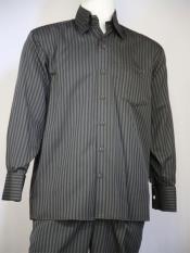 Classic Striped Design Grey Casual Two Piece Walking Outfit For Sale