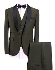 Olive Green 3-Pieces Slim Fit Shawl Lapel 1 Button Vested Dress