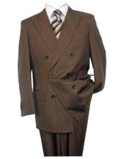2020 New Formal Style Pinstripe ~ Stripe Pattern Double Breasted Button Closure Wool Brown Peak Lapel Suit