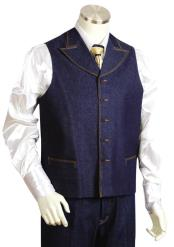 Dual Pocket Denim Blue 2pc Zoot Suit Vest