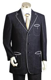 Button Fastener Black Tri Pocket 2pc Suit and Pant