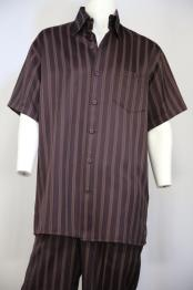 Classic Contrast Stripes Wine 2pc Shirt and Pants
