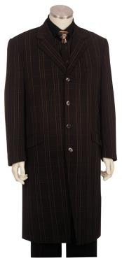 Button Fastener Brown Long 3pc Suit and Pants