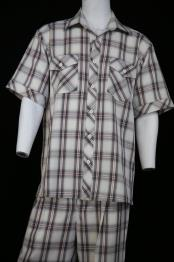 Dual Pocket Short Sleeve Black Scottish Crosshatch Pattern