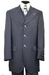Designer Arc Lapel Striped Indigo ~ Bright Blue Shirt and Pants
