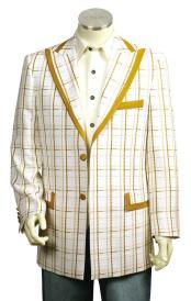 Mens Button Fastener Designer Cross Grid White Gold Shirt and Pants