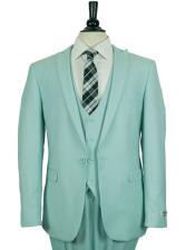 SKU#GD1679 Men's Single Breasted 1 Button Slim Fit Vested Suit Sky Blue