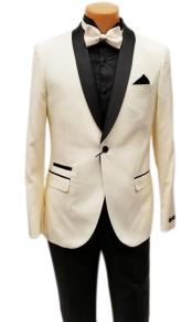 One Button Shawl Lapel Ivory Prom Wedding Tuxedo Jacket & Pants