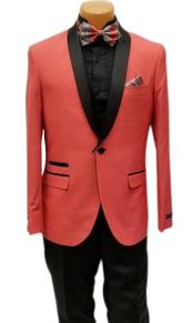 One Button Shawl Lapel Coral Prom Wedding Tuxedo Jacket & Pants