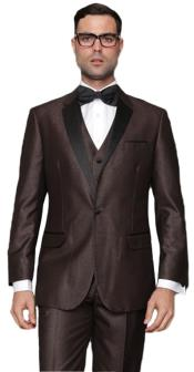 1 Button Single Breasted Vested Brown Tuxedo Suit