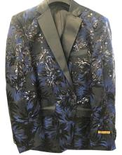 Nardoni Mens Navy ~ Black ~ Blue Tuxedo Shiny Floral ~