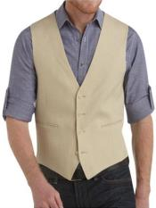 Navy Blue Single Breasted Solid Pattern Linen Vest suit