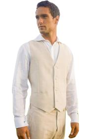 Khaki Single Breasted Fashionable Four Button Vest Linen suit