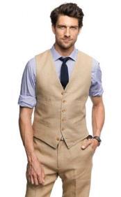Khaki Fashionable Six Button Vest Single Breasted Linen suit