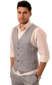 Gray Fashionable Five Button Linen Vest and Pant Outfit