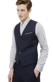 Navy Adjustable Back Strap Single Breasted Linen Suit