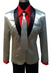Single Breasted Shawl Lapel Silver Suit