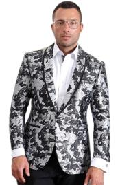 Mens Gray Grey ~ Charcoal Tux Black & White Pattern Camouflage ~ Camo ~ Paisley Tuxedo Dinner
