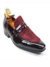 Mens Fashionable Leather Stylish Dress Loafer Burgundy Dress Shoe