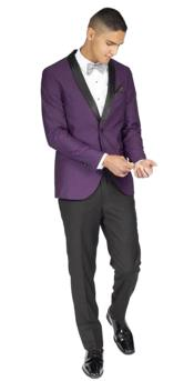 Slim Fit Purple 1 Button Tuxedo with Shawl Lapel