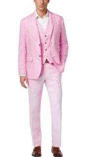 Nardoni Mens Summer Baby pink Color Linen Fabric Vested Three 3 Piece Suit Jacket + Vest+ Pants