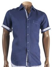 Inserch Mens Linen Short Sleeve Blue