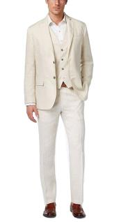 Linen Fabric Vested Three 3 Piece Suit Jacket + Vest+ Pants + Cream ~ Ivory ~ Off