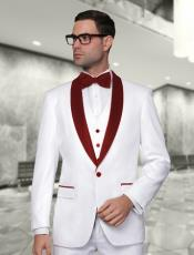 And Burgundy Lapel Vested Suit 3PC 3 Pieces Shawl Collar tuxedos