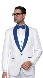 Nardoni White and Royal Blue Lapel Shawl Collar Tuxedo Vested 3PC 3 Pieces Suits Wool 1 button