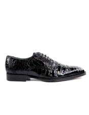 Genuine Crocodile Black Leather
