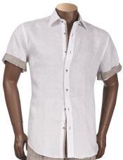 Inserch Mens Linen Short Sleeve White
