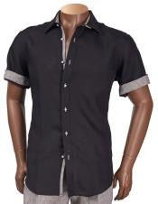 Inserch Mens Linen Short Sleeve Black