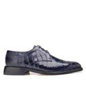 Belvedere Mens  Genuine Crocodile Navy Leather Lining Shoes