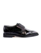 Mens Genuine Lizard Black Shoes